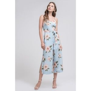 NWT J.O.A Floral Jumpsuit Midi Wide Leg Light Blue